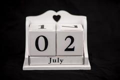 Ημερολογιακοί κύβοι Ιούλιος, δευτερόλεπτο, 2, 2$ος Στοκ Εικόνες