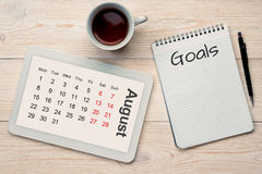 Ημερολογιακοί πλέγμα και στόχοι Αυγούστου Στοκ Εικόνες