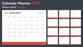 Ημερολογιακός αρμόδιος για το σχεδιασμό 2018, η Κυριακή ενάρξεων εβδομάδας, διανυσματικό πρότυπο σχεδίου Στοκ Εικόνες