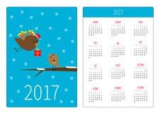 Ημερολογιακό 2017 έτος τσεπών Η εβδομάδα αρχίζει την Κυριακή Επίπεδο πρότυπο προσανατολισμού σχεδίου κάθετο Πετώντας πουλί με το  απεικόνιση αποθεμάτων