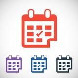 Ημερολογιακό εικονίδιο, διανυσματική απεικόνιση Επίπεδο σχέδιο Στοκ Εικόνες
