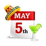 Ημερολογιακό εικονίδιο Cinco de Mayo Στοκ εικόνα με δικαίωμα ελεύθερης χρήσης