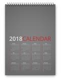 Ημερολογιακό 2018 διάνυσμα Στοκ Εικόνες