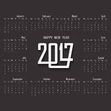 2017 ημερολογιακό πρότυπο Ημερολόγιο για το έτος του 2017 Στοκ Φωτογραφίες