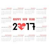2017 ημερολογιακό πρότυπο Ημερολόγιο για το έτος του 2017 Στοκ Φωτογραφία