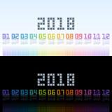 Ημερολογιακό 2018 πρότυπο με το ψηφιακό κείμενο ουράνιων τόξων eps10 να γεμίσει προτύπων λουλουδιών πορτοκαλιά rac ric ράβοντας ρ στοκ εικόνα με δικαίωμα ελεύθερης χρήσης