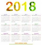 ημερολογιακό σχέδιο 2018 12 μηνών Στοκ εικόνα με δικαίωμα ελεύθερης χρήσης