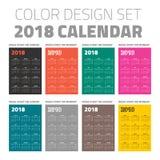 Ημερολογιακό σύνολο 2018 τσεπών χρώματος διανυσματική απεικόνιση