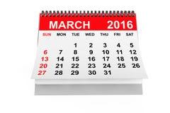 Ημερολογιακό το Μάρτιο του 2016 Στοκ Εικόνες