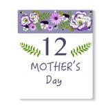 Ημερολογιακό υπόβαθρο ημέρας μητέρων Ελεύθερη απεικόνιση δικαιώματος