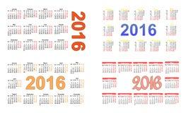 Ημερολόγιο 2016 ένα τσεπών σε τέσσερα Στοκ Εικόνες