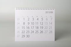 ημερολόγιο έτους του 2015 Ιούνιος Στοκ Φωτογραφίες