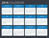 2016 ημερολόγιο - απεικόνιση Στοκ φωτογραφίες με δικαίωμα ελεύθερης χρήσης