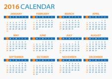 2016 ημερολόγιο - απεικόνιση Στοκ εικόνες με δικαίωμα ελεύθερης χρήσης