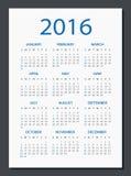 2016 ημερολόγιο - απεικόνιση Στοκ φωτογραφία με δικαίωμα ελεύθερης χρήσης