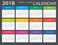 2018 ημερολόγιο - απεικόνιση Στοκ εικόνα με δικαίωμα ελεύθερης χρήσης