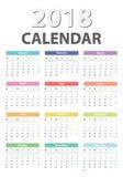 Ημερολόγιο για τη Δευτέρα ενάρξεων του 2018, διανυσματικό έτος ημερολογιακού σχεδίου 2018 Στοκ Εικόνα