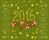 Ημερολόγιο για τον αστείο πίθηκο του 2016 στο πράσινο υπόβαθρο Στοκ εικόνα με δικαίωμα ελεύθερης χρήσης