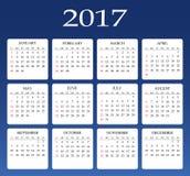 Ημερολόγιο για το έτος του 2017 Διανυσματικό πρότυπο χαρτικών σχεδίου Στοκ εικόνα με δικαίωμα ελεύθερης χρήσης