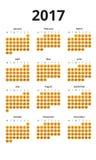 Ημερολόγιο για το έτος του 2017 με τους κυριώτερους κύκλους κάτω από κάθε μέρα Στοκ φωτογραφίες με δικαίωμα ελεύθερης χρήσης