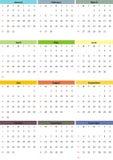 Ημερολόγιο για το ζωηρόχρωμο ύφος έτους του 2017 Στοκ Εικόνες