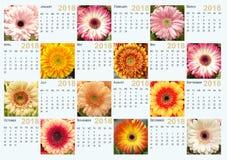 Ημερολόγιο για το 2018 με τις φωτογραφίες των λουλουδιών gerbera Στοκ Φωτογραφία