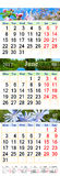 Ημερολόγιο για τρεις μήνες του 2017 με τις εικόνες της φύσης Στοκ Εικόνα
