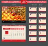 Ημερολόγιο 2017 Διανυσματικά πρότυπα όλοι οι μήνες Στοκ Εικόνες