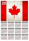 2017 ημερολόγιο - καναδικό έμβλημα σημαιών χώρας - καλή χρονιά Στοκ Εικόνα