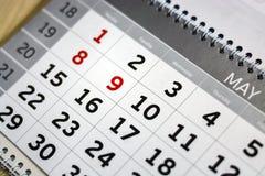 Ημερολόγιο κινηματογραφήσεων σε πρώτο πλάνο ο προγραμματισμός έννοιας, μετρά τις ημέρες, χρονική διαχείριση στοκ εικόνες