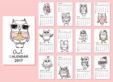 Ημερολόγιο 2017 κουκουβαγιών διανυσματική απεικόνιση