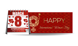 Ημερολόγιο με την εορταστική ημερομηνία, στις 8 Μαρτίου Ημέρα των διεθνών γυναικών Στοκ εικόνες με δικαίωμα ελεύθερης χρήσης