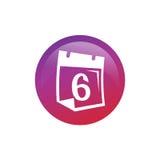 Ημερολόγιο με τον αριθμό 6 εικονίδιο Στοκ εικόνες με δικαίωμα ελεύθερης χρήσης