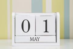 Ημερολόγιο μορφής κύβων για την 1η Μαΐου Στοκ Φωτογραφίες