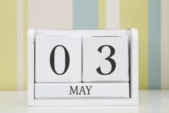 Ημερολόγιο μορφής κύβων για την 3η Μαΐου Στοκ Εικόνες
