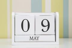 Ημερολόγιο μορφής κύβων για την 9η Μαΐου Στοκ Εικόνες