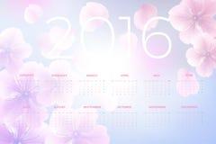 2016 ημερολόγιο που διακοσμείται με το υπόβαθρο λουλουδιών Στοκ Φωτογραφία