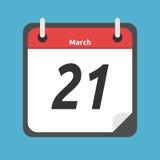 Ημερολόγιο που παρουσιάζει τις 21 Μαρτίου, απεικόνιση αποθεμάτων