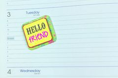 Ημερολόγιο που χαιρετά το άσπρο υπόβαθρο στοκ φωτογραφία