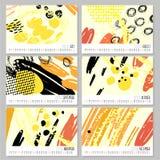 Ημερολόγιο 2016 Πρότυπα με συρμένες τις χέρι συστάσεις που γίνονται με το μελάνι Στοκ εικόνες με δικαίωμα ελεύθερης χρήσης
