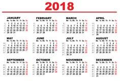 Ημερολόγιο πλέγματος για το 2018 Στοκ Φωτογραφία