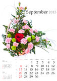 2015 ημερολόγιο Σεπτέμβριος Στοκ Εικόνες