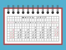 Ημερολόγιο σημειωματάριων, το Μάρτιο του 2017 διανυσματική απεικόνιση