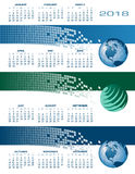 ημερολόγιο 2018 σφαιρικό επικοινωνιών Διαδικτύου Στοκ εικόνα με δικαίωμα ελεύθερης χρήσης