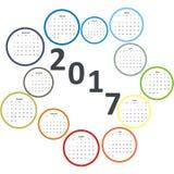 Ημερολόγιο σχεδίου μήνες 2017 ετών στους κύκλους Στοκ εικόνες με δικαίωμα ελεύθερης χρήσης