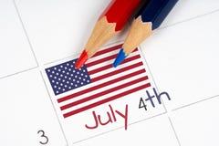 ημερολόγιο τέταρτος Ιούλιος Στοκ Εικόνες