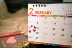 Ημερολόγιο της ημέρας Valentine's Στοκ φωτογραφίες με δικαίωμα ελεύθερης χρήσης