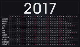ημερολόγιο του 2017, αρμόδιος για το σχεδιασμό, πρόγραμμα για τις επιχειρήσεις και ιδιωτική χρήση Στοκ εικόνα με δικαίωμα ελεύθερης χρήσης