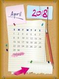 ημερολόγιο του 2018 - μήνας Απρίλιος - πίνακας φελλού με τις σημειώσεις διανυσματική απεικόνιση