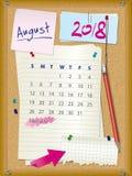 ημερολόγιο του 2018 - μήνας Αύγουστος - πίνακας φελλού με τις σημειώσεις ελεύθερη απεικόνιση δικαιώματος